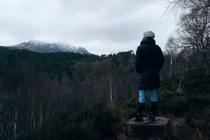 Exploring Glen Affric, Scotland Looking At A Mountian Model Woman Beauty In Nature Mountain Exploring Adventure Highlands Glen Affric Real People Rear View One Person Standing Nature Sky Lifestyles Leisure Activity Cloud - Sky Full Length Casual Clothing Day Outdoors Moments Of Happiness Capture Tomorrow It's About The Journey 2018 In One Photograph