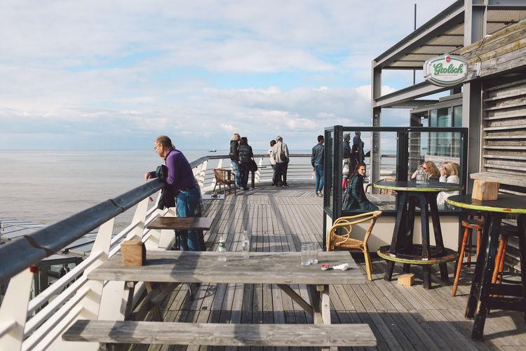 Autumn Beach Blue Sky Clouds De Pier Ferris Wheel Pier Sand Sea Seaside Sunny Table Watching