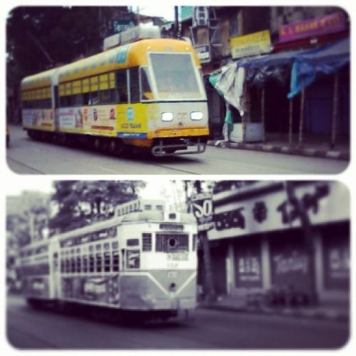 The New Generation and The Old Generation... Tram Calcutta Calcutta_Tramways_Corporation CTC New Old Generation_Gap GenerationChanges Gen_Y Kolkata CityOfJoy Street Photography Instaedit Instagram Instalike Picoftheday Photooftheday Exploringindia Indiapictures