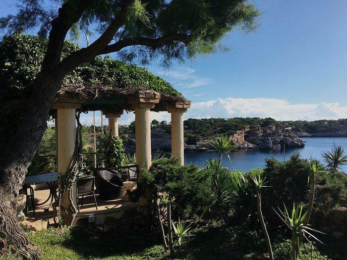 Cliff Edge Gazebo Meditteranean Sea Tree Sunny Day Sparkling Blue Water Garden With Sea View Shady Place Breathing Space