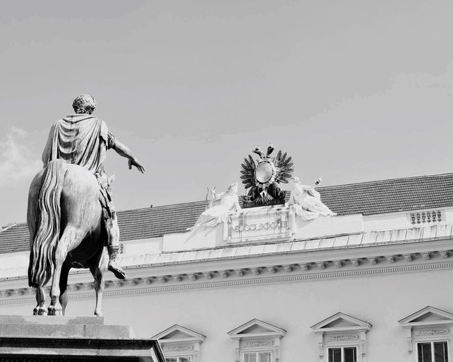 Vienna Art And Craft Sculpture Statue Human Representation No People Outdoors Clear Sky City Architecture Day Horse Imperator Roman Palace EyeEm Gallery Travel Destinations Sky Blackandwhite Animal Themes Paceful Fine Art Statue