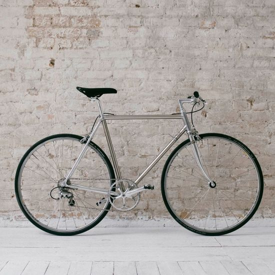 My Love Silver - Metal Chrome Brick Wall Single Speed Vintage Bicycle Transportation Mode Of Transportation Land Vehicle No People Stationary Wall - Building Feature