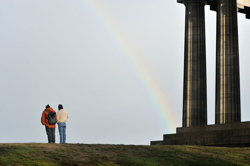 Rainbow on Calton Hill, Edinburgh Scotland Edinburgh Calton Hill Calton Hill Monument Rainbow Rainbow Colors Sky Two People Architecture Standing Outdoors Weather