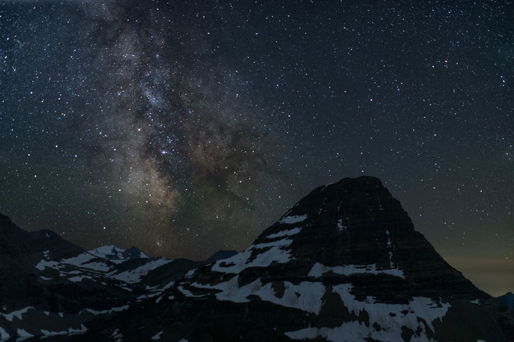 Scenic view of snowcapped mountain against sky during night