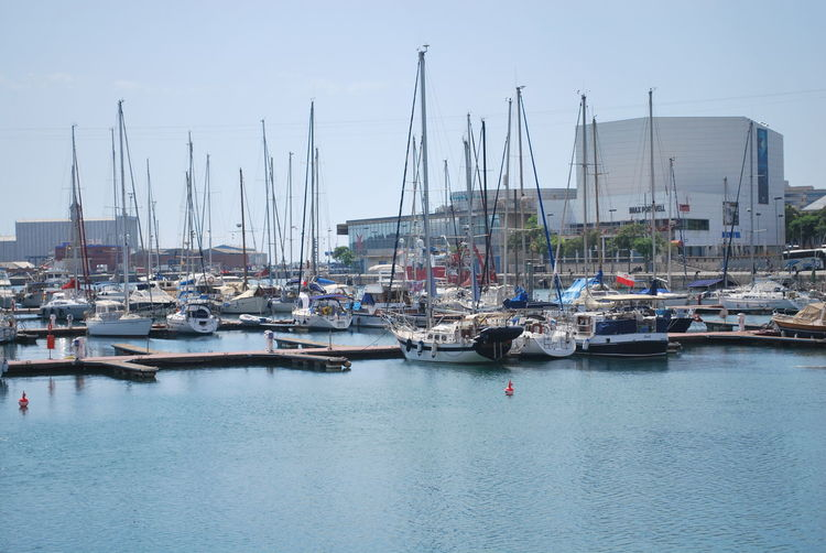 Barcelona Barcelona, Spain Beach Catalunya Clear Sky Commercial Dock Day Harbor Marina Mast Mode Of Transport Moored Nature Nautical Vessel No People Outdoors Pier Sailboat Sailing Ship Sea Sky Transportation Water Yacht Yachting