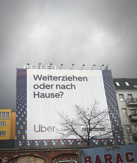 Hotel oder Uber Big Sign Berlin Advertisment Ad Advertising Signs Uber Hotel Text Architecture Building Exterior Communication Western Script Sky Built Structure No People City Sign Building Outdoors Copy Space