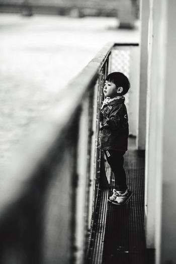 Bon Voyage Childhood One Boy Only Portrait One Person People Blackandwhite Black & White Boat The Street Photographer - 2017 EyeEm Awards The Portraitist - 2017 EyeEm Awards My Best Photo