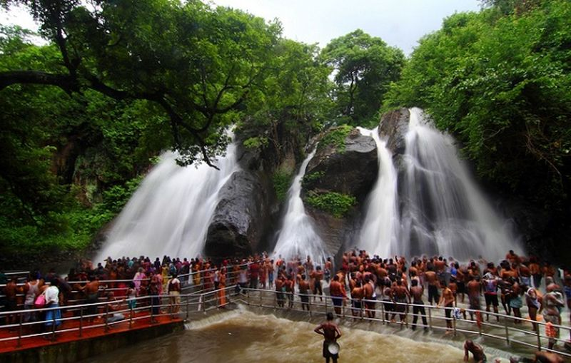 It is a waterfalls at Coutrallam town near Madurai sothern India. People [men & women]take bath. It is said when you apply oil on your body it gets washed away due to the force of waterfalls. Waterfall