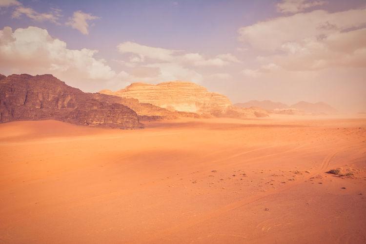 Wadi rum desert scene in jordan. wide angle view of dramatic landscape
