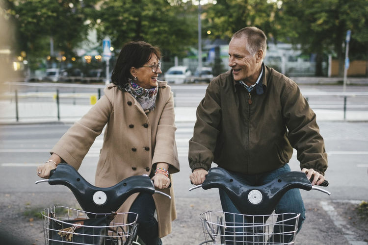 Man and woman on bicycle