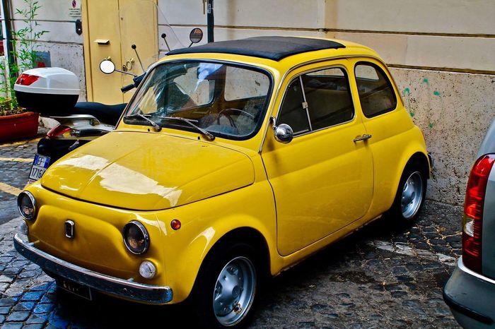 Fiat500 Yellow Street Italy Car