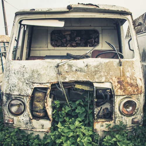 Abandoned Damaged Old Run-down Decline Obsolete Deterioration Rusty Mode Of Transportation Bad Condition Broken Land Vehicle Transportation Car No People Motor Vehicle Weathered Day Retro Styled Ruined Outdoors Junkyard Demolished Destroyed Nature