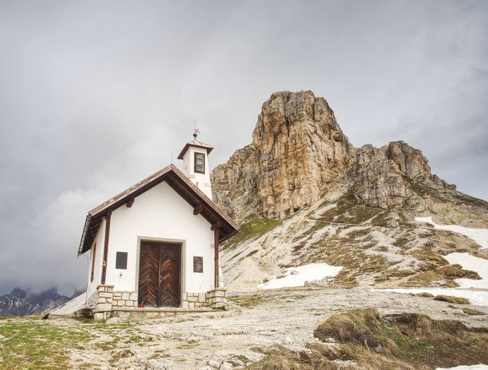 Small white chapel, may 26 2018. tre cime national park dolomites mountains italy