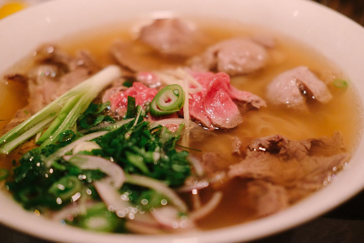 Close-Up Of Pho Soup In Bowl