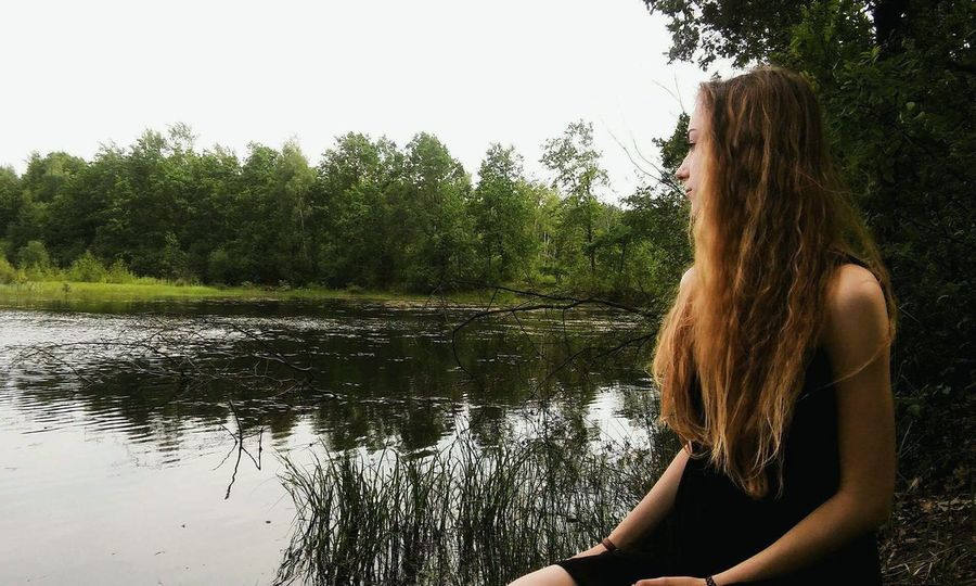 One Person One Woman Only Only Women Tree Water Adult People Rear View Adults Only Long Hair Summer Tranquility Lake Women Nature Outdoors Vacations Leisure Activity Day Human Back