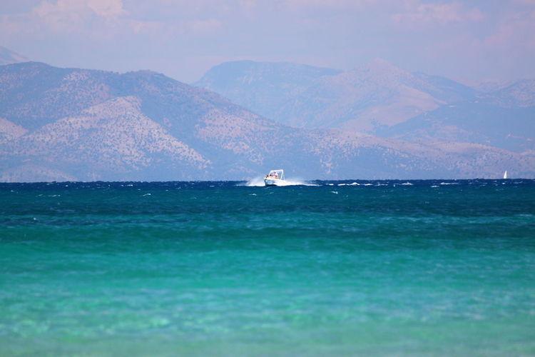 Scenic view of speedboat on sea