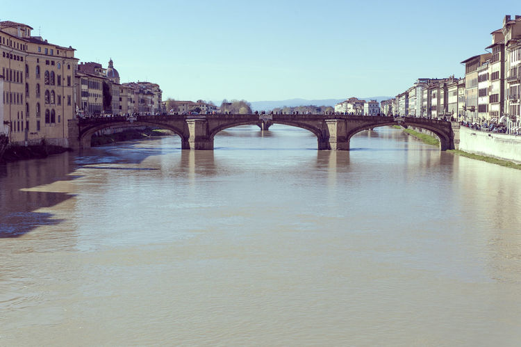 Arch Arch Bridge Architecture Bridge Bridge - Man Made Structure Building Exterior Built Structure Canal City Clear Sky Connection Copy Space Engineering Firenze Florence Italy Outdoors River Suspension Bridge Transportation Travel Destinations Water Waterfront