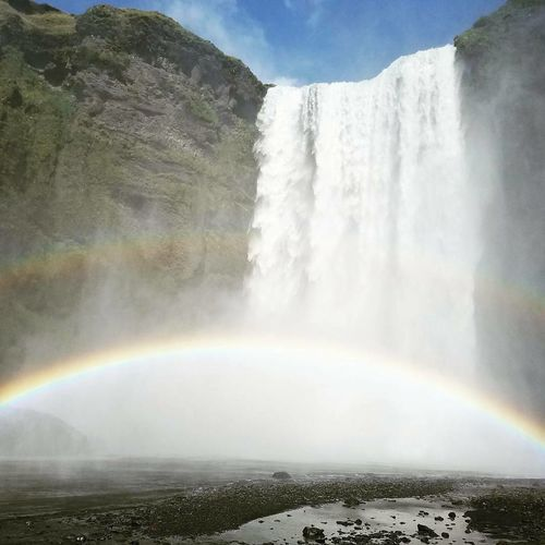 Waterfall Rainbow Power In Nature Travel Destinations Beauty In Nature Spraying Scenics Skogafoss Double Rainbow Been There.