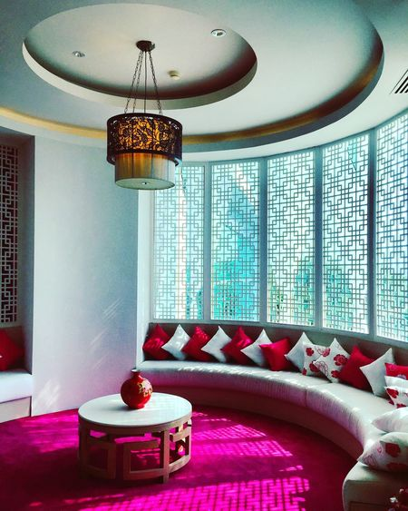Ceiling Indoors  Home Interior Lighting Equipment Illuminated Home Showcase Interior No People Architecture Built Structure Low Angle View Modern Day Chinese Chinese Restaurant Pink Capedara