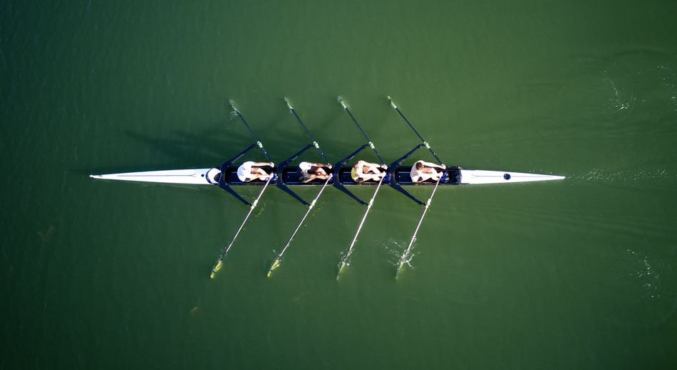 Rowing Aviron Rowing Rowing Boat Transportation Nautical Vessel Nature Mode Of Transportation Group Of People Water High Angle View Sport Sport Rowing Rowboat Outdoors Green Color