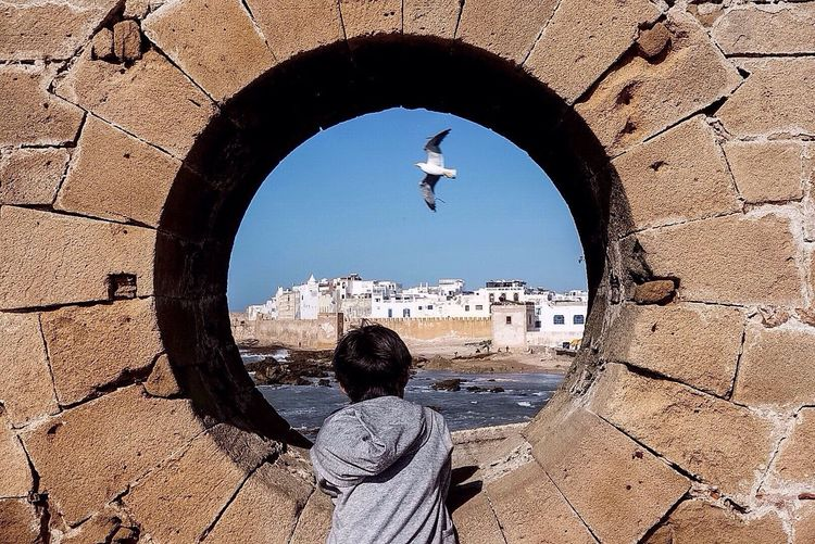 Rear View Of Boy Looking Through Circular Window