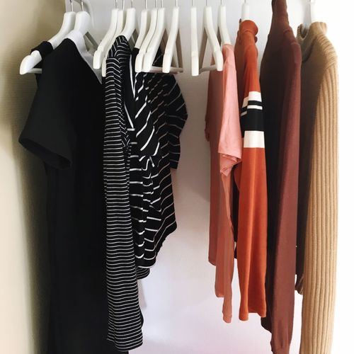 clothes, clothes hanger, black and white, brown EyeEm Selects Hanging Clothing Indoors  Choice No People Coathanger In A Row Arrangement Still Life Textile Clothes Rack Fashion
