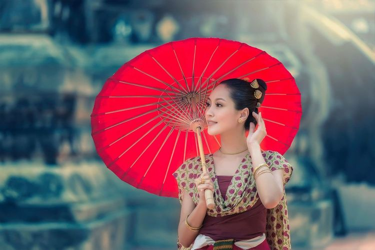 Thai traditional dress in Lanna style Fashion Lanna Original ASIA Thailand Young Adult Beautiful People Beauty Adult Fashion Red One Person Young Women People Cute One Young Woman Only Only Women Beautiful Woman Traditional Clothing Fashion Model