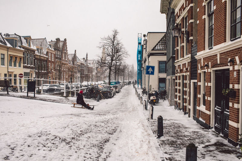 View of city street during winter
