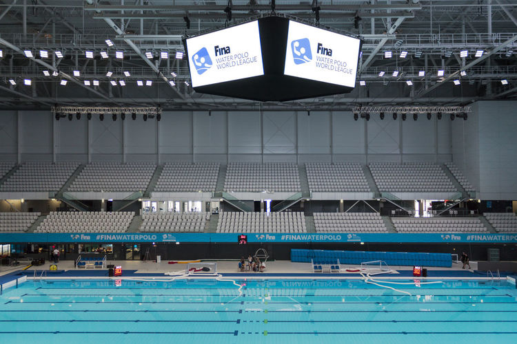 2018 Behind The Scenes Budapest Empy World League Architecture Blue Competition Fina Indoors  Low Angle View Pool Sport Stadium Swimming Pool Water Polo Waterpolo