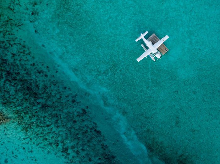 Seaplane in the Cays Aerial Photography Airplane Tropical Exuma Cays Seaplane Bahamas DJI X Eyeem Nautical Vessel Water High Angle View Blue Sea Day Aerial View No People Nature Beauty In Nature Turquoise Colored Transportation Scenics - Nature Travel Vacations