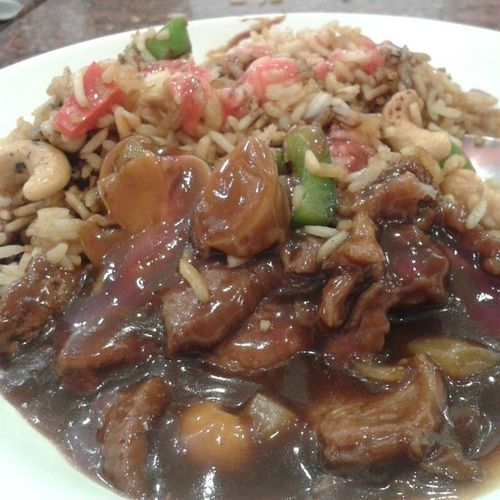 Whatihadforlunch Beefandmushrooms Ricewithcashewnuts Chinese
