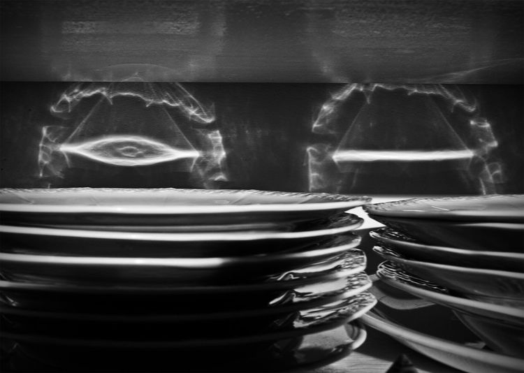 magic lightplay of sunlight on my plates Blackandwhite Bw_collection From My Point Of View Light Play Monochrome Playing Lights Reflection_collection Sunlight Reflection