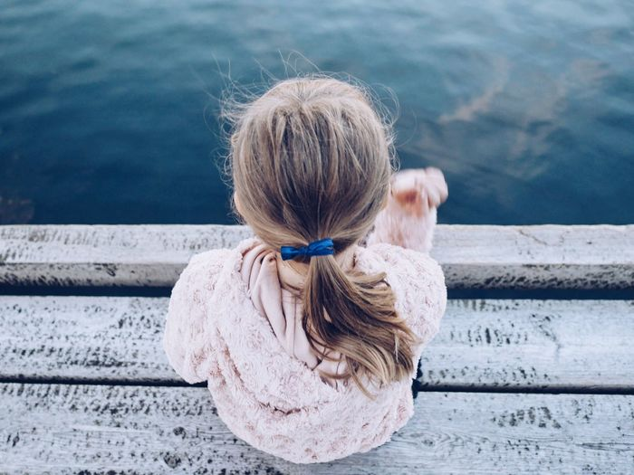 A Bird's Eye View Childhood Water Rear View High Angle View Elementary Age Blond Hair Innocence Sunlight Full Length Summer Carefree Rippled Vacations Steps Medium-length Hair Sea Long Hair Day Outdoors Fine Art Photography Artistic Photo Relaxation Tranquil Scene Overhead