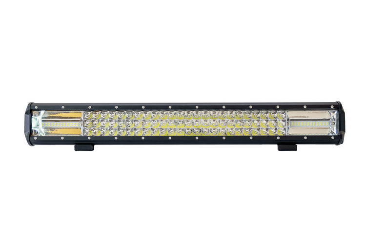 LED light bar for off road isolated on white background with clipping path. Studio Shot White Background Copy Space Technology Cut Out No People Single Object Connection Still Life Close-up Yellow Equipment Electrical Equipment LED LED Light Car Offroad Headlight Diode Light Lamp Transportation New Space Power