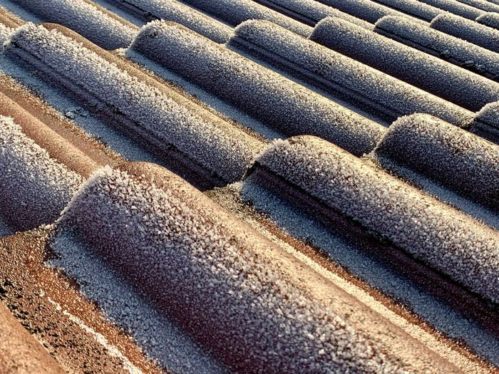 Cold Temperature Ice Cold Days Roof Roof Tile Rooftop View  Full Frame Backgrounds Pattern High Angle View Day No People Sand Textured  Sunlight Land Nature Outdoors Close-up Beach Repetition Transportation Road In A Row Directly Above Brown