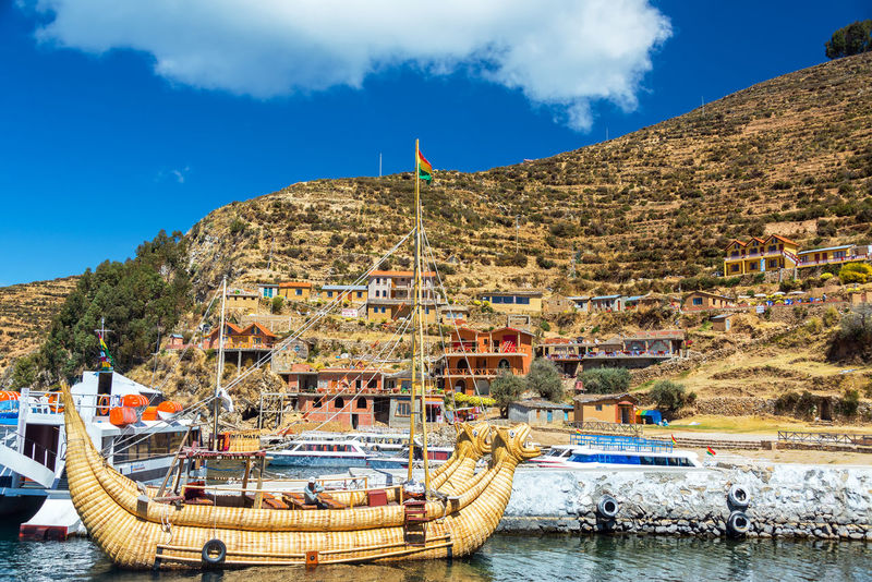 Andes Blue Boat Bolivia Culture Indian Indigenous  Isla Del Sol Lake Lake Titicaca Outdoors Peru Reed Reeds Ship South America Titicaca Totora Town Water