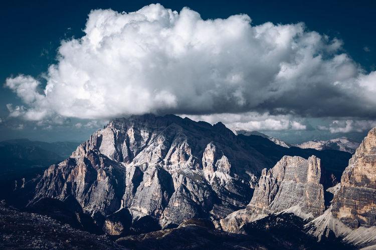 Big cloud over cunturines peak , cortina d'ampezzo, dolomites unesco