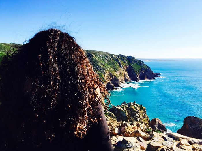 Cabo da Roca, Portugal Sea Clear Sky Rock - Object Horizon Over Water Water Nature Day Outdoors Sky Beauty In Nature Scenics Blue One Person Women People Vacations Travel Destinations Clear Sky Portugal