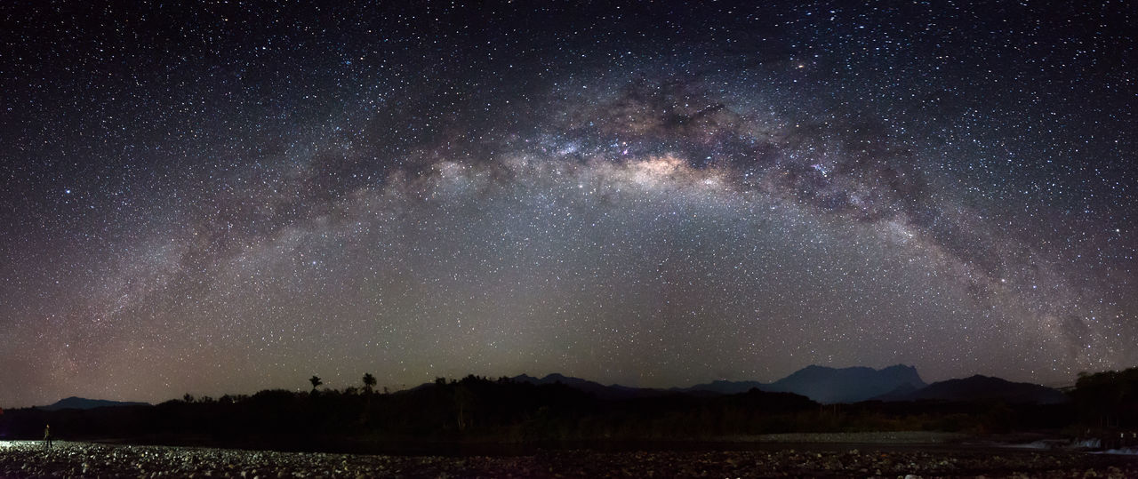 Panorama of Milky way and starry night with Mount Kinabalu as background at Sabah East Malaysia, North Borneo. Image contain soft focus, blur, grains and noise due wide aperture, long exposure and high ISO. Panorama Milky Way Milkyway Star Starry Galaxy Nebula Space Astronomy Mount Kinabalu Sabah Malaysia Borneo Malangkap Togudon Kota Belud Star Field Space And Astronomy Sagittarius Astrology Dramatic Sky Infinity Globular Star Cluster Space Exploration