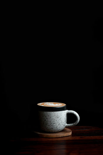 cappuccino Cup Mug Drink Food And Drink Refreshment Studio Shot Copy Space Indoors  Coffee Cup Hot Drink No People Black Background Tea Tea Cup Crockery Freshness Wood - Material Coffee - Drink Coffee Still Life Tea - Hot Drink