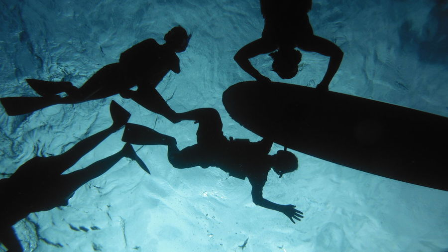 Abstract Adult Adults Only Adventure Aquatic Contigo Dark Day Hawaii Leisure Activity Men Motivational Mysterious Ocean Outdoors Outline People Scuba Diving Shapes Silhouette Swimming Teamwork Togetherness Two People Underwater Fresh On Market 2016
