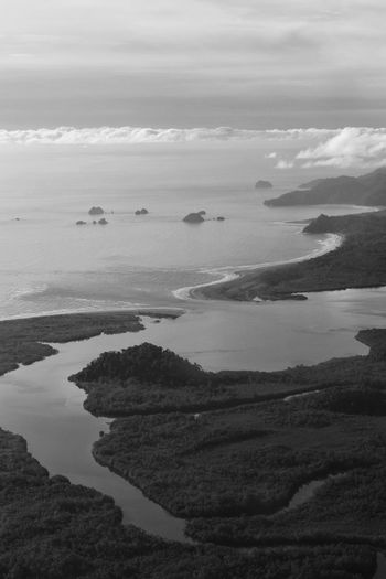 Choco Colombia South America Coast Coastline Landscapes Islands Ocean Pacific Ocean Beach Water Sea Nature Rainforest Wildness Blackandwhite Traveling Travel Aerial View Airplane Window Airplaneview Horizon Clouds Monochrome Photography Miles Away