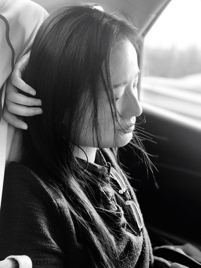PhonePhotography Long Hair Black & White Girl Sunlight Peace And Quiet Real People Taxi Headshot Transportation One Person