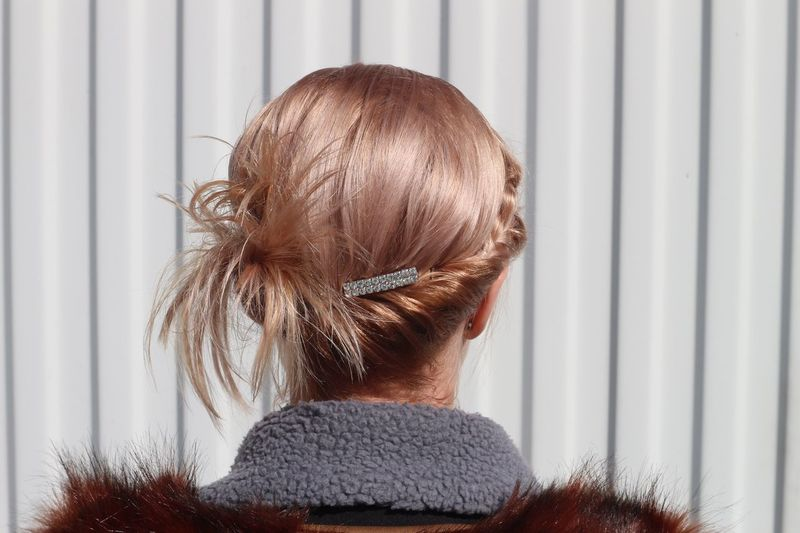 Rear view of woman with blond hair