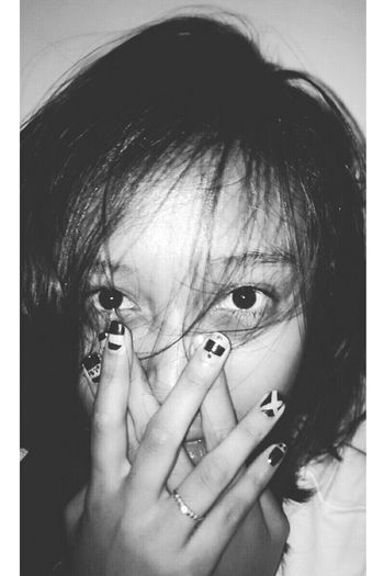 Girl Blackandwhite Asian  Getting Inspired Todays Hot Look Beauty Model Short Hair Black & White Close Up Potrait Nail Art Eyes Art April Showcase Showing Imperfection Let Your Hair Down
