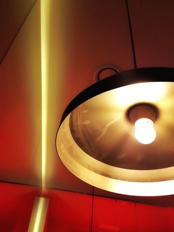 Indoors  No People Illuminated Lookingup Artificial Light Warmtones Ceiling Lights Geometry Red Instagramer Umeugram