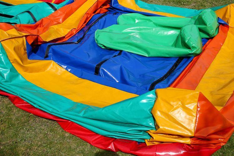 High angle view of multi colored umbrella