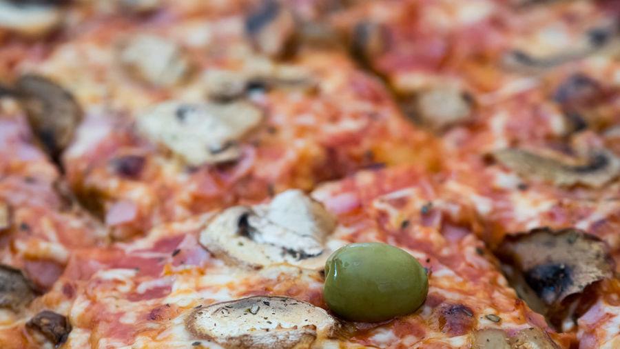 Full frame shot of pizza