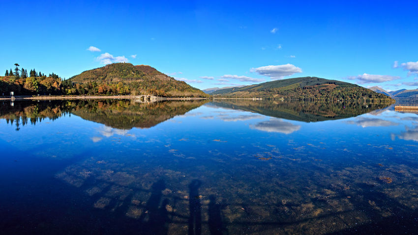 Blue skies over Loch Fyne at Inveraray. Argyll Landscape Loch Fyne Lochs Panorama Reflections Scotland Water