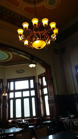 Indoors  Ceiling Chandelier Low Angle View No People Luxury Day